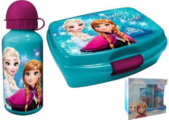 Frozen lunchbox / broodtrommel & aluminium drinkbeker / turquoise