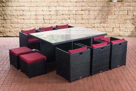 Wicker Eettafel Set Met 8 Stoelen En 4 Krukken Zwart.Bol Com Clp Maui Dining Tuinset Xxl Poly Rotan 6 Zetels 4