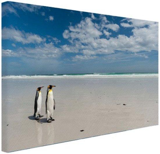 Koningspinguins op het strand Canvas 120x80 cm - Foto print op Canvas schilderij (Wanddecoratie woonkamer / slaapkamer) / Dieren Canvas Schilderijen