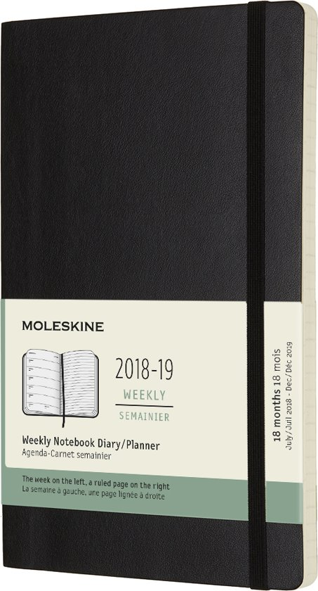Moleskine - 18 Months - Weekly - 2018/2019 - Large - Black - Soft Cover