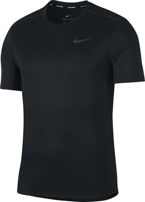Nike Miler Tech SS Hardloop T-shirt Heren  Sportshirt - Maat XL  - Mannen - zwart/grijs