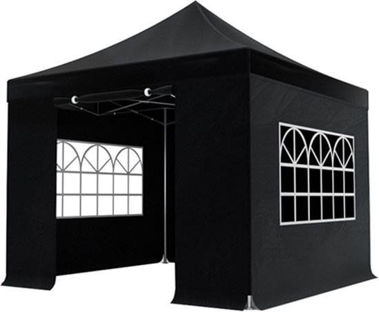 Easy up luxe partytent - 3x3m - Zwart