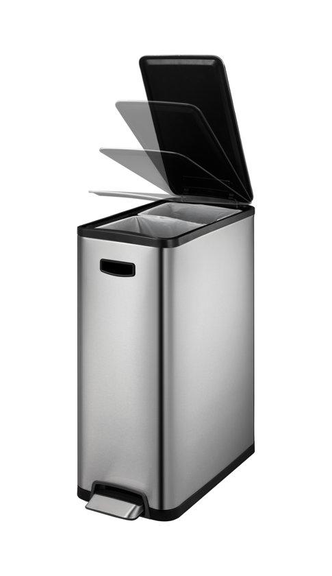 EKO Ecoslim Prullenbak 20+20 l - Mat RVS  - voor Afvalscheiding