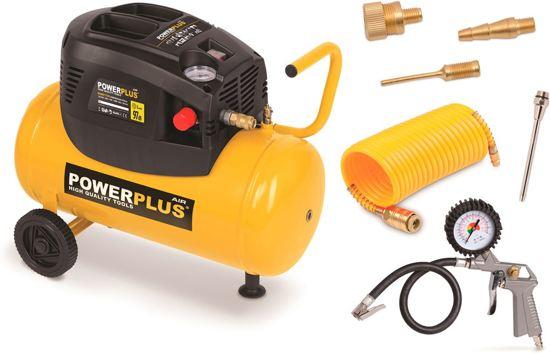 Powerplus POWX1730 Compressor - Max. 8 bar - 1100 Watt - 24 liter tankinhoud - Inclusief accessoires