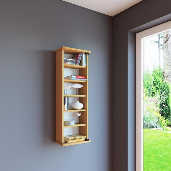 Wandkast vakkenkast Loposa met glazen deur (beuken)