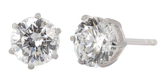 Traveller - oorstekers - zilver 925 met 6,5 mm AAA zirkonia steen - #S7025R
