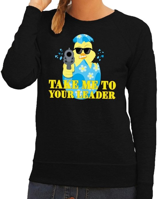 Fout paas sweater zwart take me to your leader voor dames L