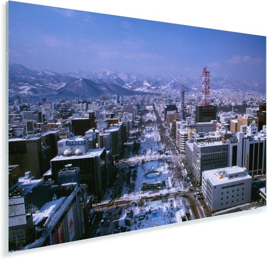 Luchtfoto van de stad Sapporo in Japan tijdens de winter Plexiglas 30x20 cm - klein - Foto print op Glas (Plexiglas wanddecoratie)