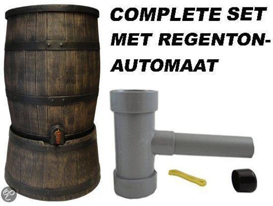 Regentonset Roto 120L 'old wood look' bruin incl. voet + vulautomaat