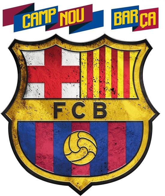 bol fc barcelona logo muursticker 45 x 45 cm multi