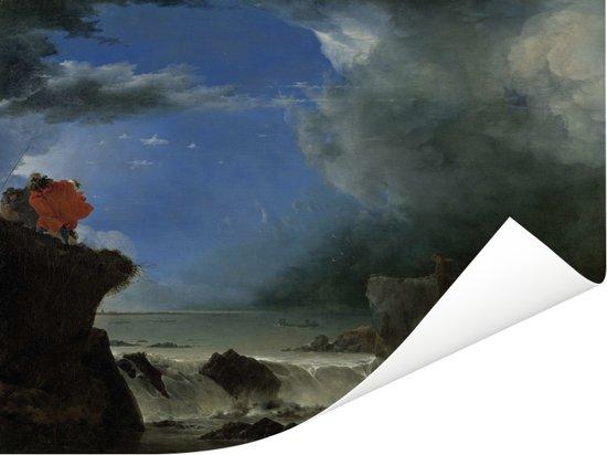 De doorbraak van de Sint-Anthonisdijk in Amsterdam - Schilderij van Jan Asselijn Poster 160x120 cm - Foto print op Poster (wanddecoratie woonkamer / slaapkamer) XXL / Groot formaat!