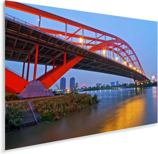 Foshan Dongping brug in de Chinese stad Plexiglas 120x80 cm - Foto print op Glas (Plexiglas wanddecoratie)