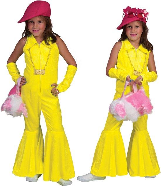 Fluo geel discokostuum voor meisjes - Verkleedkleding