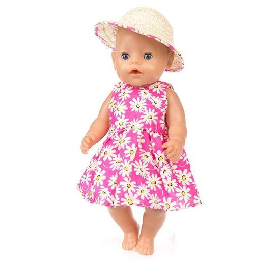 Voor de Pop | Fleurige Roze Bloemetjes Jurk Met Hoedje | Baby Born | Babypop Poppenkleertjes | Poppenkleding | 43 cm | Poppen accessoires + GRATIS HIPPE ZONNEBRIL