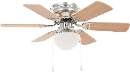 Plafondventilator met lamp 82 cm lichtbruin