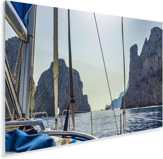 Foto vanaf zeilboot van de kustlijn van Capri in Italië Plexiglas 60x40 cm - Foto print op Glas (Plexiglas wanddecoratie)