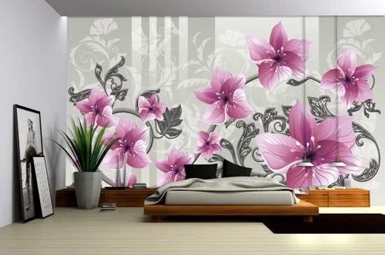 Pink   Gray Photomural, wallcovering