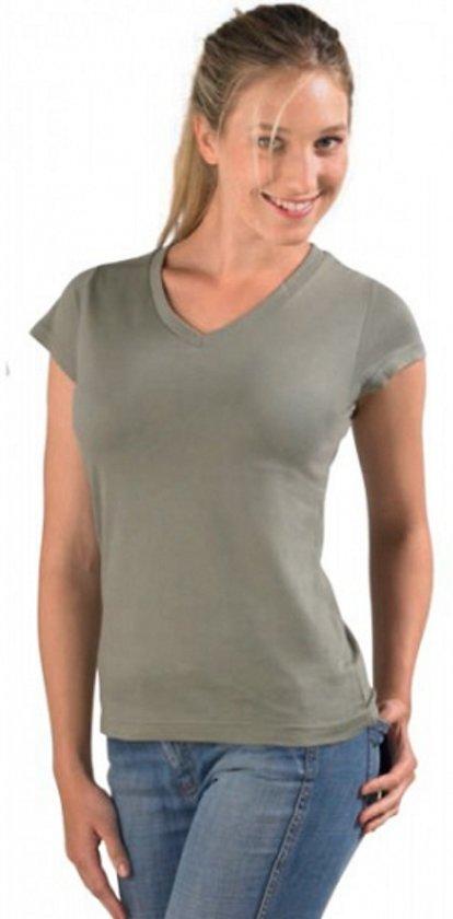 Dames t-shirt  V-hals kaky 36 (S)