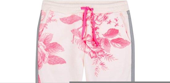 Hiks witte sweatpants van biokatoen met fluo bloemenprint