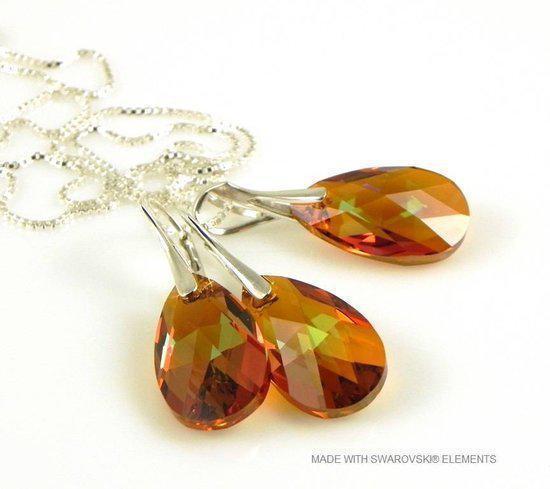 Sieradenset 925 met Swarovski Elements Pear Cooper Crystallized