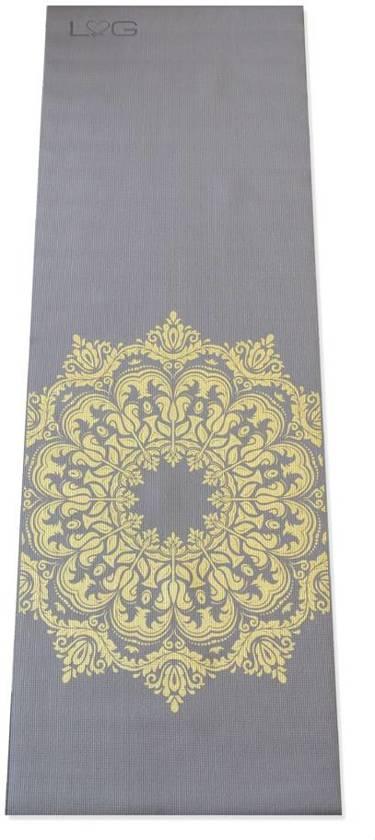 Yogamat Mandala - 4mm - Warm Grijs met Gouden Print
