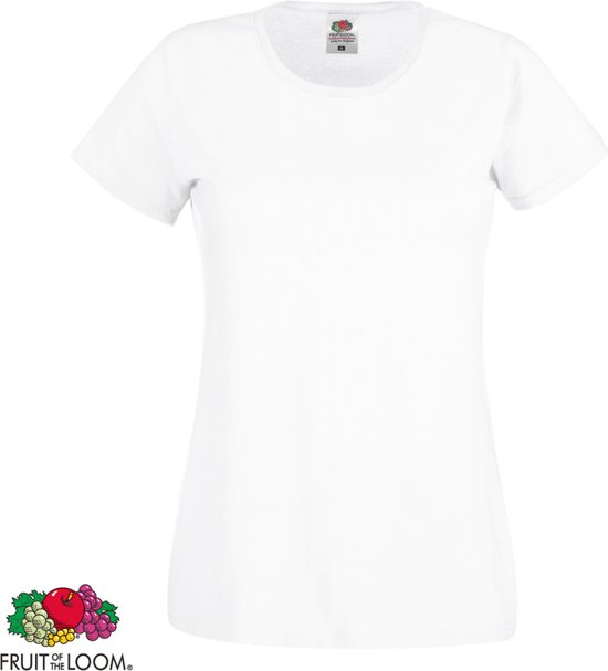 The Hals Zwart Fruit Loom Dames 10x Ronde Of shirt Katoen wit S T DEWH9e2IY