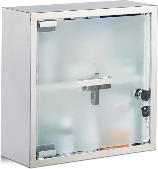 Relaxdays Medicijnkastje Roestvrij Staal Vierkant Medicijnkast Ehbo Kast Afsluitbaar