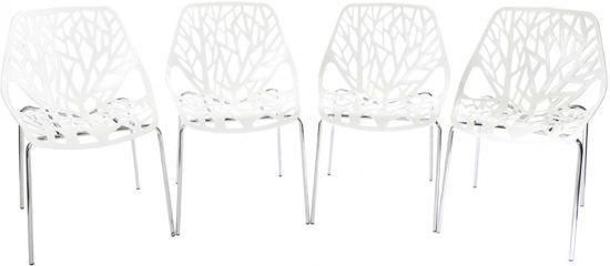 Eetkamerstoelen 4 Wit.Designerstoel Eetkamerstoel Caluna Set Van 4 Stuks In Wit