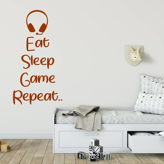 Muursticker Eat Sleep Game Repeat Headset -  Bruin -  41 x 80 cm  - Muursticker4Sale