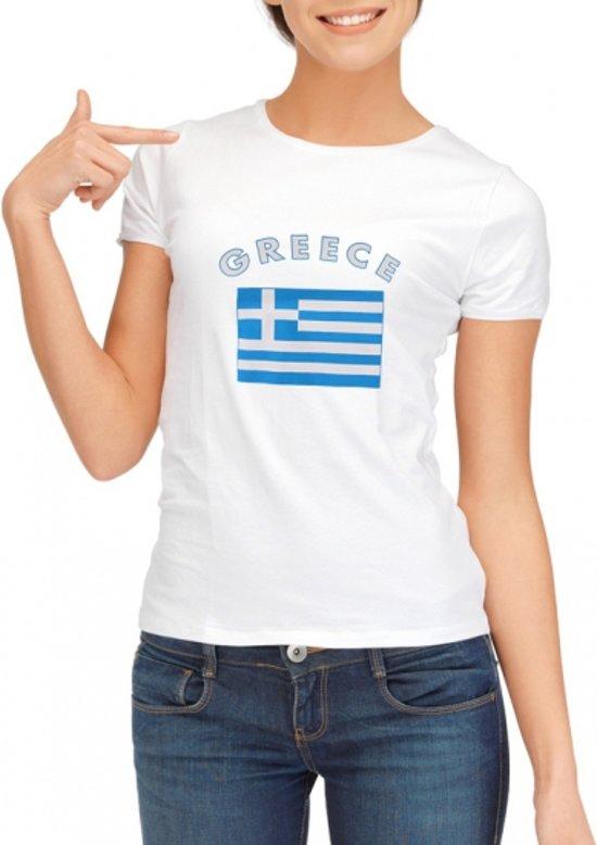 Wit dames t-shirt met vlag van Griekenland Xl