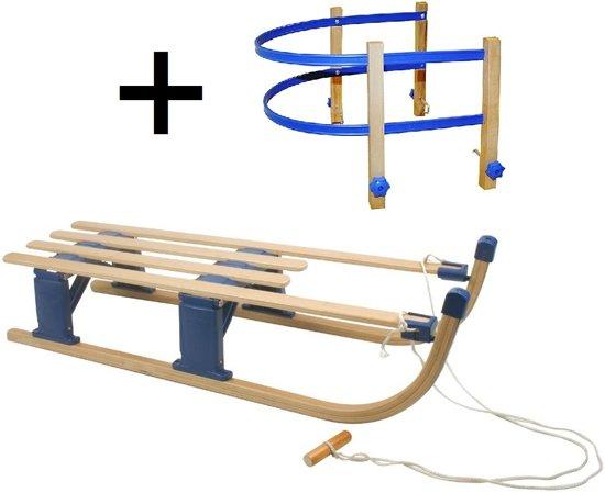 Slede hout opklapbaar 110cm de luxe + rugleuning 00290 - Houten slee