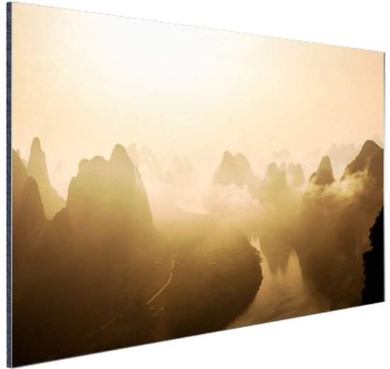Bergen in Guilin China Aluminium 60x40 cm - Foto print op Aluminium (metaal wanddecoratie)
