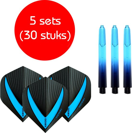 Dragon darts - Vignette – 5 sets (15 stuks) - short - darts shafts - aquablauw - inclusief 5 sets (15 stuks) stevige - Vista-X - darts flights