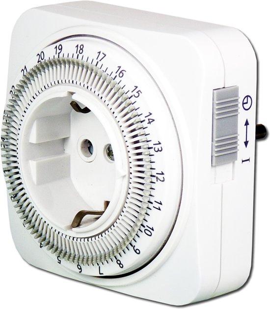 EcoSavers Tijdschakelklok Analoog Timer / Tijdschakel klok 24 uurs en instelbaar per tijdsinterval van 15 minuten - Schakelt apparaat automatisch aan en uit op de vastgestelde tijdstippen