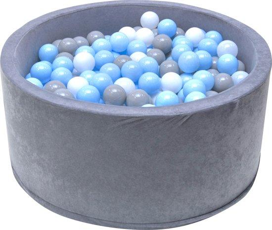 Ballenbak - stevige grijze ballenbad - 90 x 40 cm - 200 ballen Ø 7 cm - blauw, wit, grijs