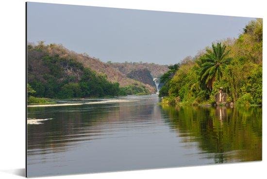 Groene natuur bij de Murchison Falls Aluminium 180x120 cm - Foto print op Aluminium (metaal wanddecoratie) XXL / Groot formaat!
