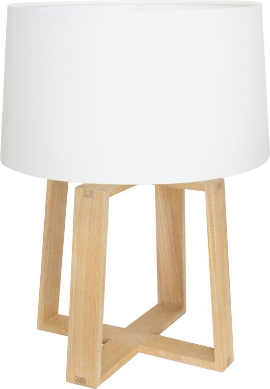 Genoeg bol.com | Design Elias Tafellamp - Hout - Ø32 x 43 cm - Wit UT11