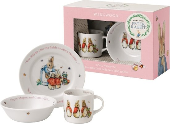 Wedgwood Peter Rabbit Kinderservies 3 Delig Roze Porselein