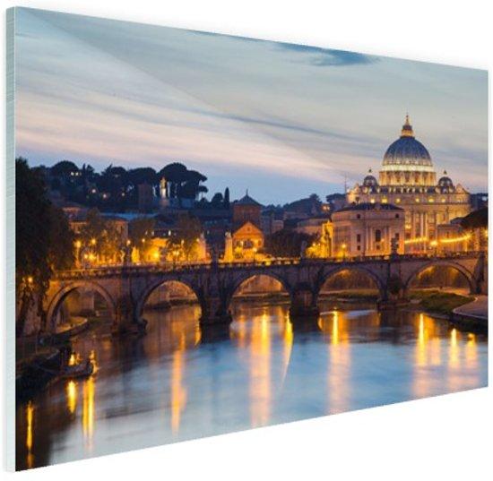 Rome in de avond Glas 180x120 cm - Foto print op Glas (Plexiglas wanddecoratie) XXL / Groot formaat!
