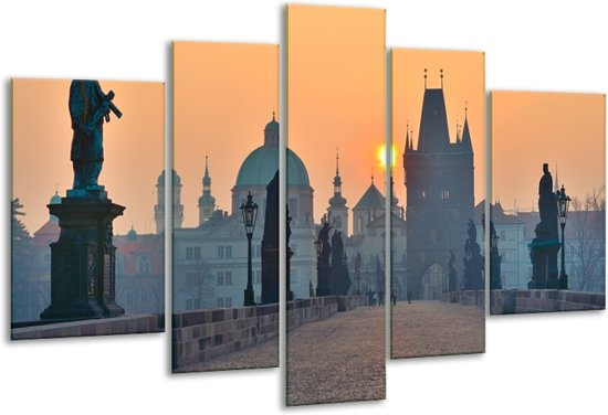 Glas schilderij Beeld, Steden | Geel, Grijs | 170x100cm 5Luik | Foto print op Glas |  F007181