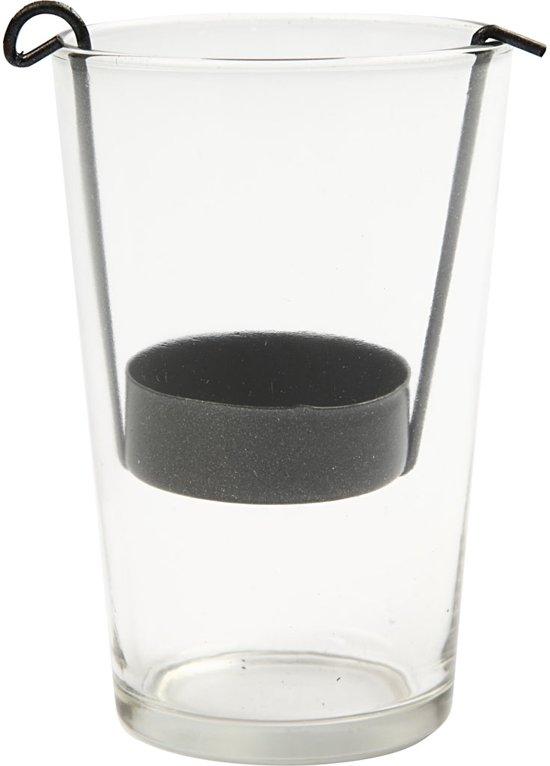 Cylinder glas, d: 6 cm, h: 12 cm, 12 stuks