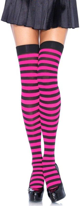 a7eba167871 bol.com   Gestreepte kniekousen roze met zwart voor dames, Leg ...