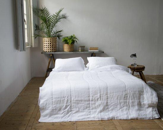 Passion for Linen - Luxe Plaid JULI dubbelzijdig 100% linnen 10 kleuren - BLAUW zomerdekbed