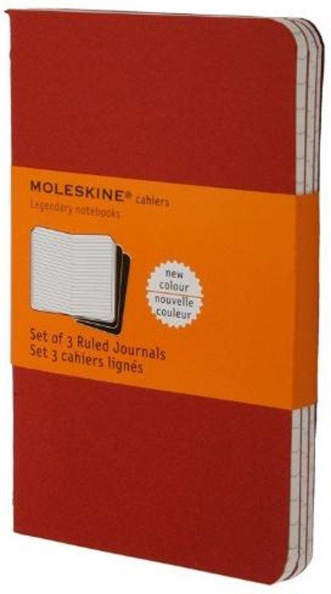 Moleskine Cahier Notitieboek Cranberry Rood - Pocket - Soft cover - Lijnen - Set van 3