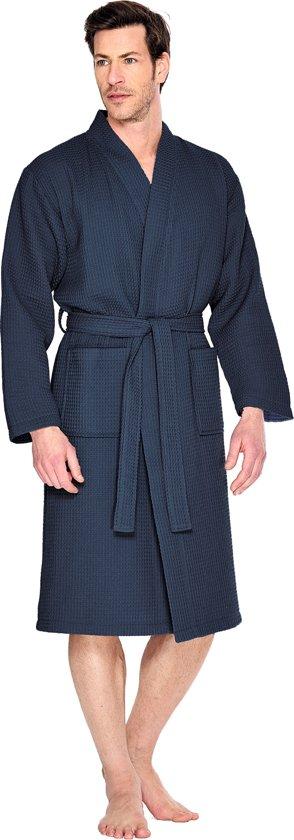 Wafel badjas voor sauna marineblauw M - unisex