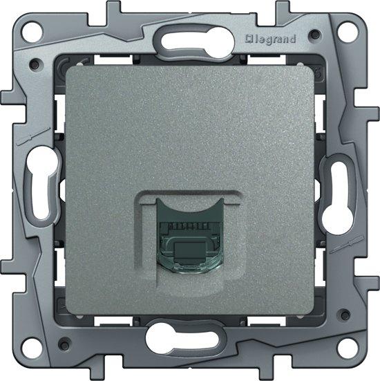 Legrand NILOÉ inbouw RJ45 UTP CAT6 stopcontact - enkelvoudig - aluminium