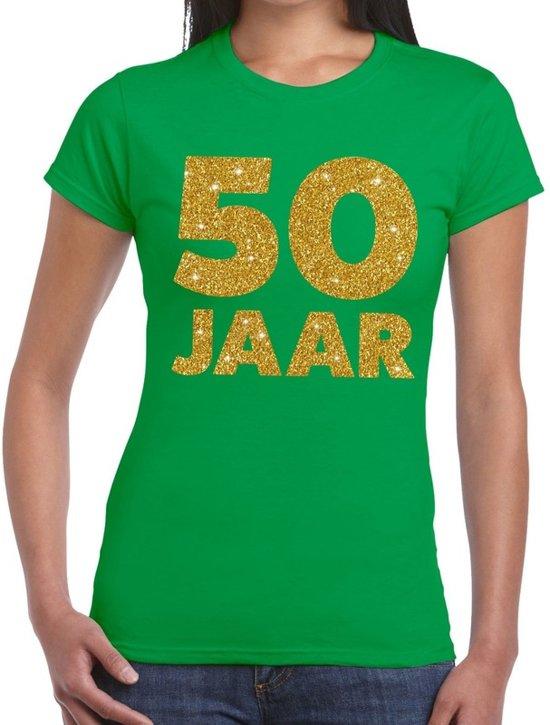 50 jaar goud glitter verjaardag t-shirt groen dames - verjaardag / jubileum shirts XL