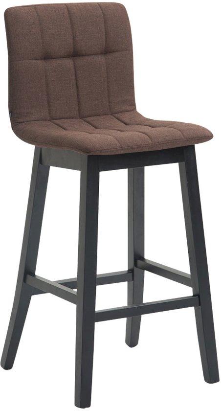 Clp Barkruk BREGENZ, barkruk met rugleuning, houten krukje, Draagvermogen 120 kg, voetsteun voor optimaal comfort, bekleding van stof - bruin, kleur onderstel : zwart,