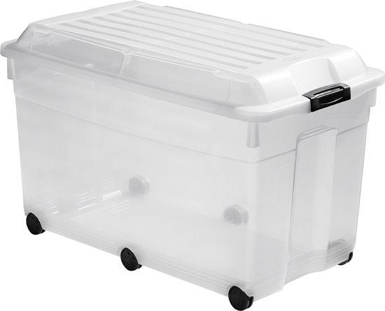 Curver Jumbo Multiboxx Opbergbox - Incl. Wielen - 90 l - Kunststof - Transparant