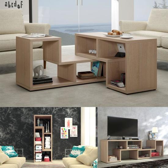 tv meubel salontafel boekenkast 3 in 1 lichtbruin